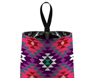 Car Trash Bag // Auto Trash Bag // Car Accessories // Car Litter Bag Car Garbage Bag - Aztec Southwestern Plum Purple Car Organizer Flower