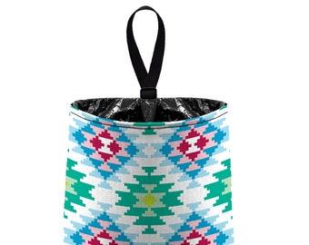 Car Trash Bag // Auto Trash Bag // Car Accessories // Car Litter Bag // Car Garbage Bag -  Aztec - Mint Aqua Blue White - Southwester Tribal