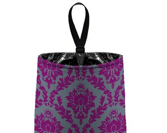 Car Trash Bag // Auto Trash Bag // Car Accessories // Car Litter Bag // Car Garbage Bag - Grape Dark Grey Damask // Organizer Gray Purple