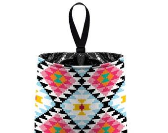 Car Trash Bag // Auto Trash Bag // Car Accessories // Car Litter Bag // Car Garbage Bag - Aztec Tribal Pattern - Pink Black Aqua White bin