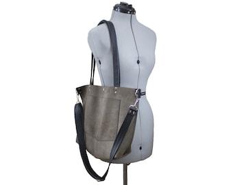 Leather Messenger Tote Bag - River Rock Grey Brown Leather - black straps pebble grain crossbody bag adjustable rivets pockets Work Laptop