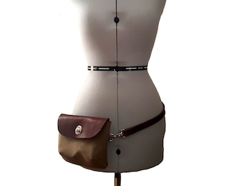 Hip Bag Belt Bag Fanny Pack Travel - Field Tan Waxed Canvas Brown Pull-up Leather - Belt Dog Walking Hiking Pouch Phone Case