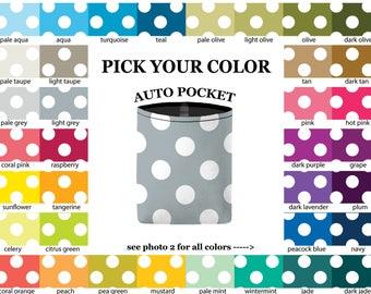 Auto Pocket - Jumbo Polka Dots - PICK YOUR COLOR - Car Accessory Automobile Caddy - polkadots