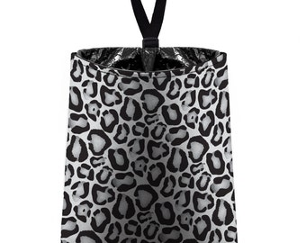 Car Trash Bag // Auto Trash Bag // Car Accessories // Car Litter Bag // Car Garbage Bag - Snow Leopard Print - Grey White Leopard