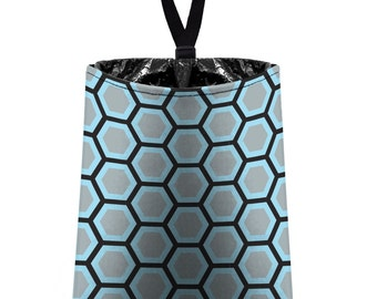 Car Trash Bag // Auto Trash Bag // Car Accessories // Car Litter Bag // Car Garbage Bag - Honeycomb light grey black aqua // Car Organizer