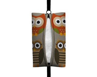 Auto Sneeze - Owls - Visor Tissue Case/Cozy - Car Accessory Automobile - Autumn Orange Taupe