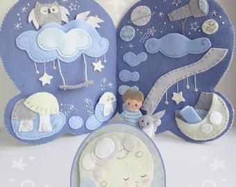 Little Milo's Dreamland Quiet Book PDF Sewing Pattern, PDF Download, Celestial Moon Plush Pattern, Nursery Decor