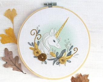 Floral Unicorn Hand Embroidery Sampler, Beginner level Modern Hoop Art Design