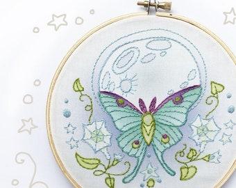 Hand Embroidery Kit, Luna Moth Butterfly, DIY Gift, Embroidery Hoop Art, Beginner Modern Needlework Pattern, Floral, Flower