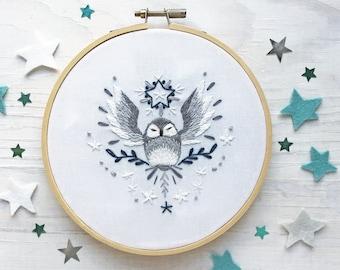 Starry Owl Hand Embroidery Sampler, Beginner level Celestial Decor Hoop Art Design
