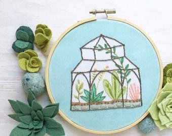 Terrarium Plants Hand Embroidery Sampler, Beginner level greenhouse, plant lover Hoop Art Design