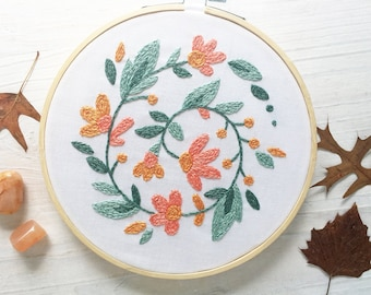Floral Wreath Beginner Hand Embroidery color Sampler with printed fabric, Modern Embroidery Hoop Art