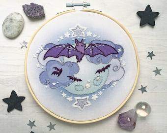 Bat Moon Hand Embroidery Sampler, Halloween Decor Hoop Art Design
