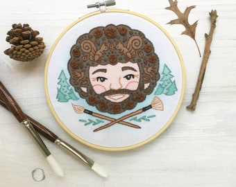 Bob and his Happy Little Trees Hand Embroidery Sampler, hoop art portrait