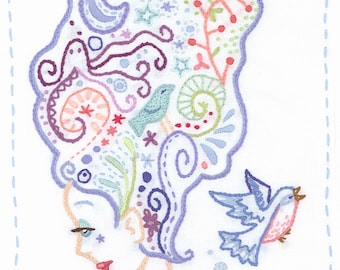 Hand Embroidery Pattern, Thinking Embroidery Art, PDF Download, Modern Embroidery Designs