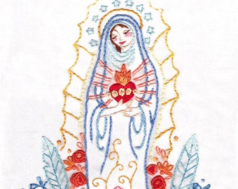 Hand Embroidery Pattern, Our Lady Madonna, Sacred Heart, Lotus, Hand Embroidery Patterns, Embroidery Designs, DIY, PDF Download