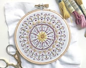 Learn to Embroider with this Mini Mandala Beginner Hand Embroidery printed fabric Sampler, make a Modern Embroidery Hoop Art Dream Catcher