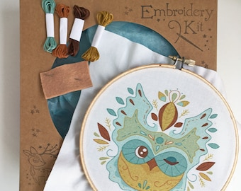 Hand Embroidery Kit Owl Leaves DIY Sampler Embroidery Hoop art beginner embroidery pattern designs