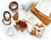 DIY craft kit for Woodland Creatures, sew Mini Felt Animals, Fox, Hedgehog, Leaf