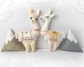 Llama Plush Felt Animals Sewing pattern for felt ornaments or baby mobile, PDF Download, Mountain baby shower gift, adventure nursery