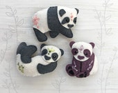 3 Panda Bears Mini Plush Felt Animals Sewing pattern, felt toy, PDF Download