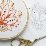 Learn to embroider with this Mini Lotus Flower Hand Embroidery printed fabric Sampler, floral design, perfect for beginners
