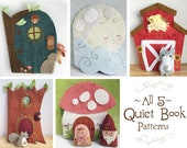 5 Felt Quiet Book PDF Sewing Patterns with Felt Animals and dolls, PDF Download to sew your own soft toys