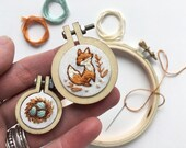 Mini Hand Embroidery Hoop Kit, Fox and Nest Beginner Hand Embroidered Charms for Pendant or needle minder