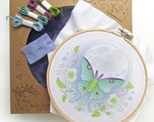 Hand Embroidery Kit, Luna Moth Butterfly, DIY Gift, Embroidery Hoop Art, Beginner Modern Needlework Pattern, Floral, Flower