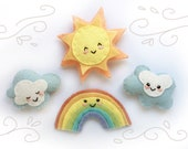 Rainbow, Sun and Clouds PDF Plush Sewing Pattern for mini felt toys, baby mobile