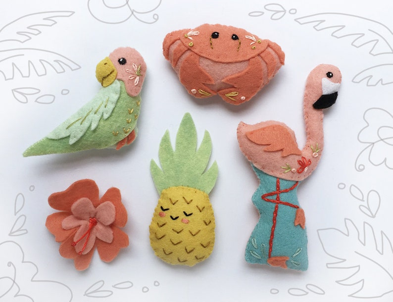 Tropical Felt Animals Plush Sewing Pattern digital download image 0