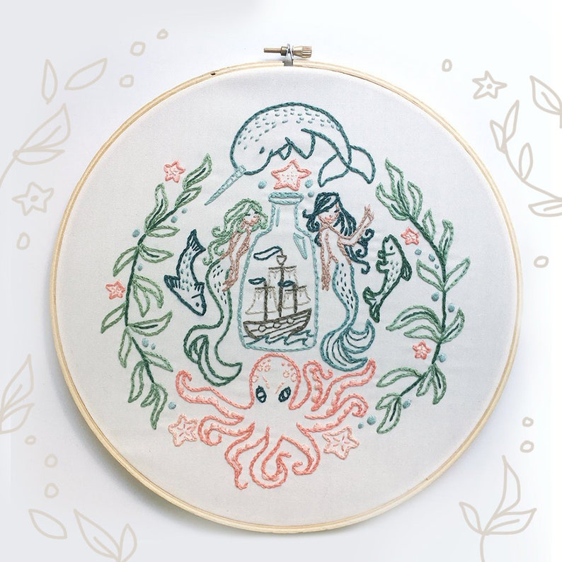 Ship in a Bottle Hand Embroidery Pattern PDF Download image 0