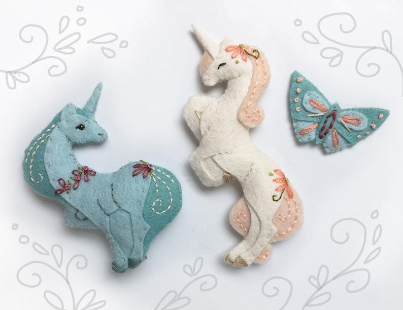 Unicorn Mini Plush Felt Animals Sewing pattern for felt image 0