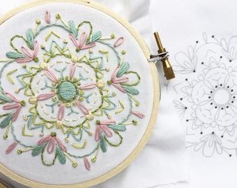 Mini Mandala Hand Embroidery printed fabric Sampler, perfect for beginners