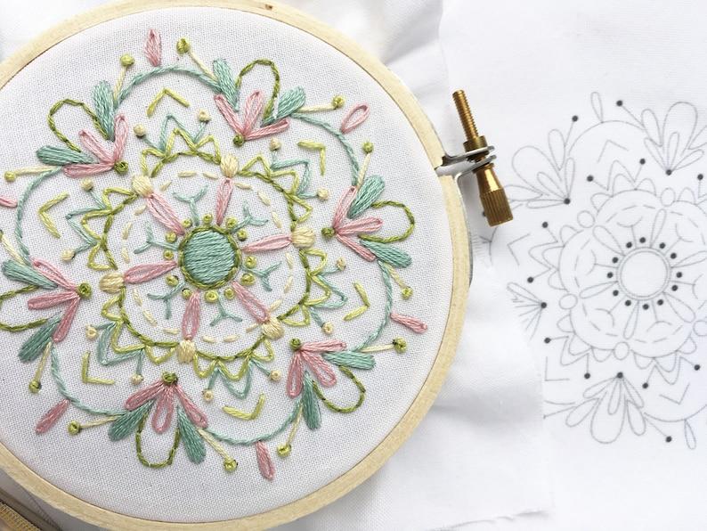 Mini Mandala Hand Embroidery printed fabric Sampler perfect image 0