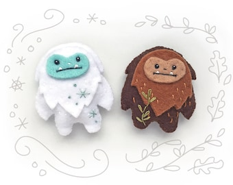 PDF Sewing Pattern for Felt Yeti and Sasquatch, mini felt plush Bigfoot and Snow Monster, Christmas ornaments, holiday decor, SVG included