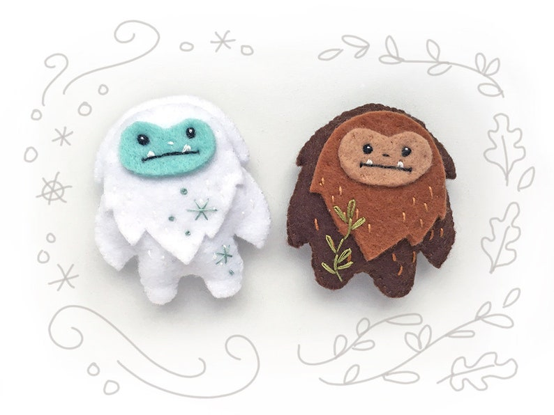 PDF Sewing Pattern for Felt Yeti and Sasquatch mini felt image 0
