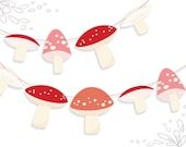 Printable Woodland Mushrooms Garland PDF Digital Download for clipart, party and more