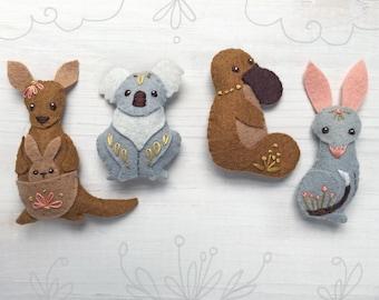 Australian Felt Animals Plush Sewing Pattern digital download, Kangaroo, Koala, Bilby, Platypus