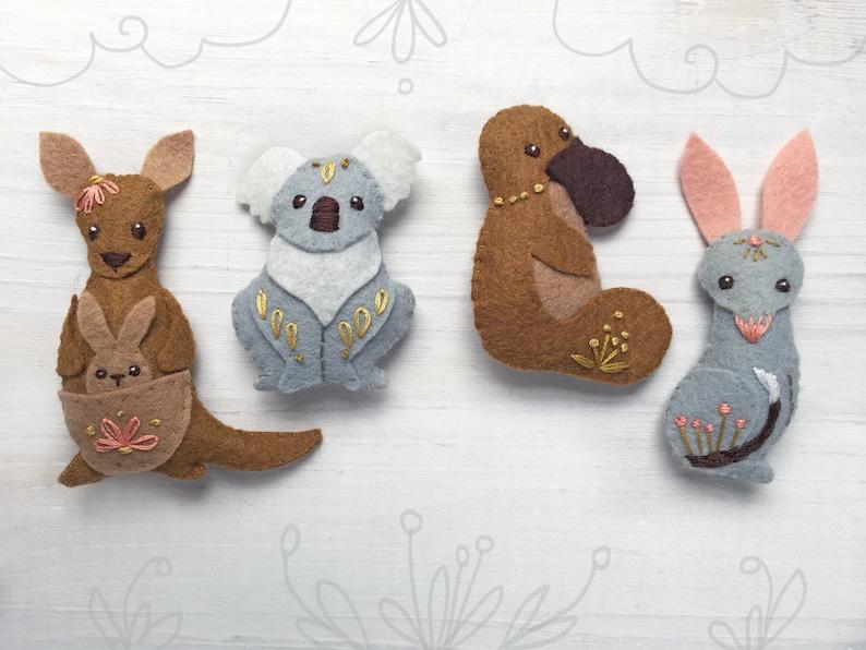 Australian Felt Animals Plush Sewing Pattern digital download image 0