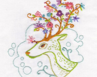 Hand Embroidery Pattern Flowering Antlers, PDF Download, Woodland Animals, Embroidery Art, Embroidery Designs