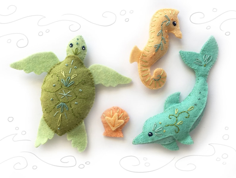 Sea Creatures Set 2 Felt Animals Sewing Pattern PDF Download image 0