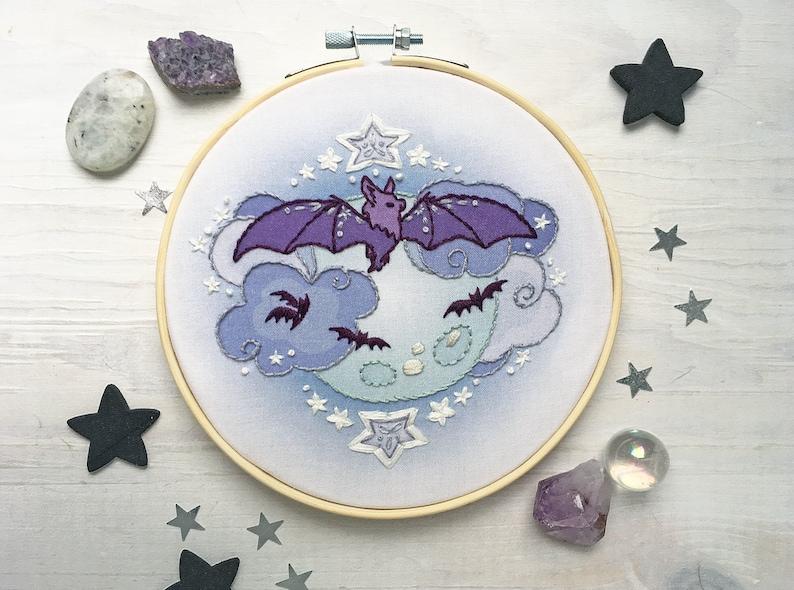 Bat Moon Hand Embroidery Sampler Halloween Decor Hoop Art image 0