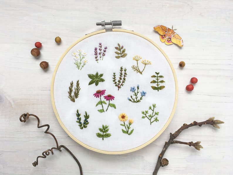 Tiny Herbs Hand Embroidery Pattern PDF Download Embroidery image 0