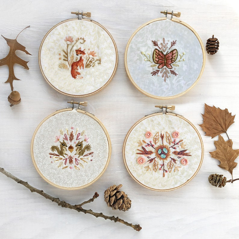 Four Mini Nature Motifs Hand Embroidery Pattern PDF Download image 0