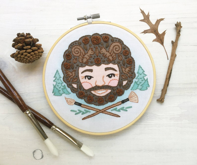 Bob and his Happy Little Trees Hand Embroidery Sampler hoop image 0