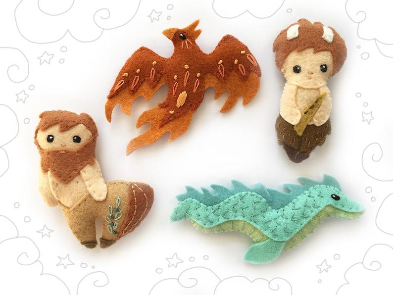 Mythical Creatures Felt Animals Plush Sewing Pattern set 3 image 0