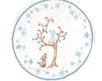 Hand Embroidery Pattern Ghost Birds, PDF download, Woodland Animals, Embroidery Hoop Art, Deer, Tree, Birds, Embroidery Designs