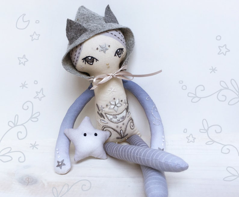 DIY Cut and Sew cloth doll with embroidery Luna Fey moon image 0