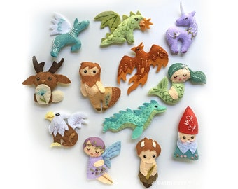 Plush Sewing Patterns for 12 different Mythical Creatures, Felt Animals, great for Baby Gift Mobile or Felt Ornaments, Unicorn, Mermaid